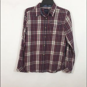 Lucky Brand Red Ivory Blue Plaid Button Shirt L
